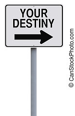 Your Destiny - Modified one way sign indicating Your Destiny...