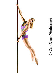 Female Pole dancer, woman dancing on pylon isolated on white...