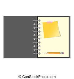 Open notebook with yellow sticker and pencil - Open grey...