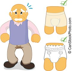 Bladder control problem - A senior man with bladder control...