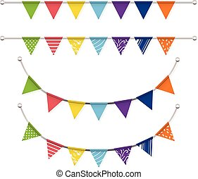 colorful bunting flags Vector set
