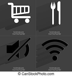 Shopping cart, Fork and knife, Mute icon, WLAN icon Symbols...