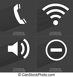 Receiver, WLAN icon, Sound, Minus sign Symbols with long...