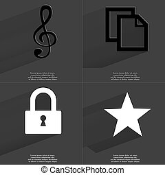 Clef, Copy icon, Lock, Star. Symbols with long shadow. Flat design