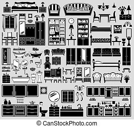 Set of the furniture icons. vector