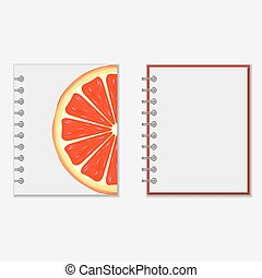 Notebook cover design with bright grapefruit - Ring-bound...
