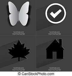 Butterfly, Tick sign, Maple leaf, House. Symbols with long shadow. Flat design