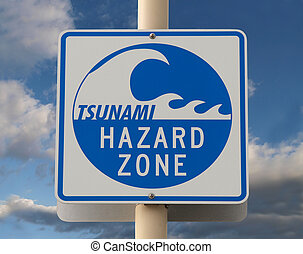 Tsunami Warning Sign - Tsunami warning sign with a cloud...