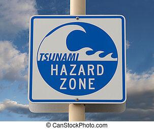 Tsunami Warning Sign - Tsunami warning sign with a cloud...