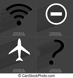 WLAN icon, Minus sign, Airplane, Question mark Symbols with...