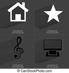 House, Star, Clef, Monitor. Symbols with long shadow. Flat design