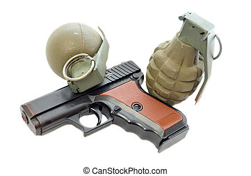 Militant Weaponry - A plastic pistol and two metal green...
