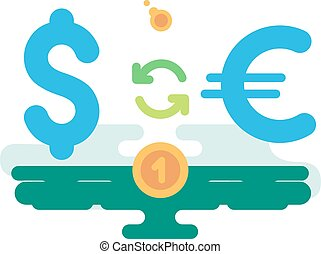 Dollar Euro Currency Exchange concept vector illustration...