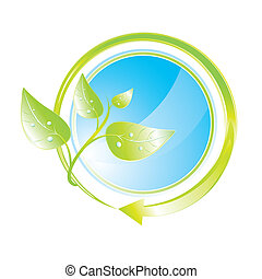 Green concept icon with arrow, vector illustration