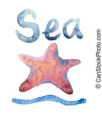 Set of hand drawn watercolor starfishes