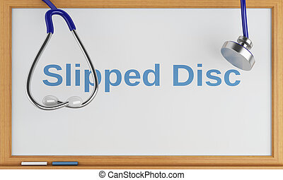 3d blackboard with the word slipped disc. Medical concept -...