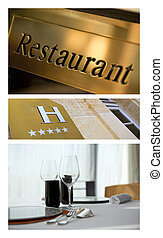 Food and luxury hotels - Luxury restaurants and hotels signs...