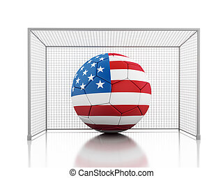 3d Soccer ball with united states flag - 3d renderer image....