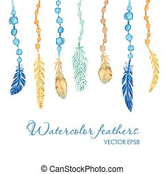 Set of ethnic feathers. Ethnic seamless pattern in native style.