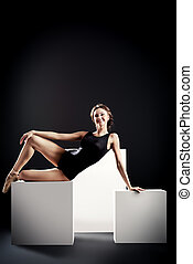 leotard - Elegant beautiful ballet dancer in black ballet...