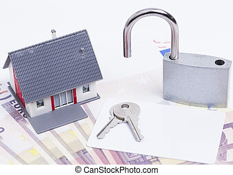 House money padlock card - Image shows a miniature house...