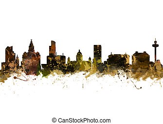 Liverpool - Watercolor art print of the Skyline of Liverpool