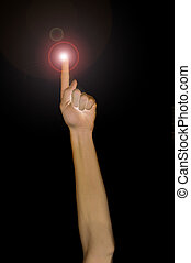 Pointing fingertip with light, pointing up.