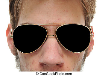 Close up of man with aviator sunglasses - Close up of man...