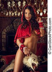 seductor, rojo, equitación, capucha,