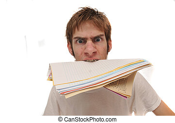 Student biting homework - Student holding blank lined paper...