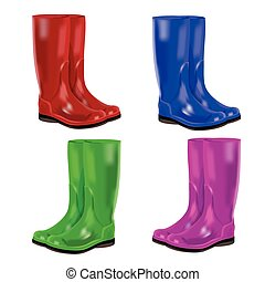 Vector set of colorful rubber boots. White background