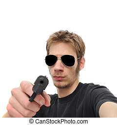Gunpoint - A young adult holds the viewer at gunpoint....