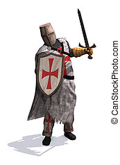 Templar Knight - A Templar Knight ready to do battle - 3d...
