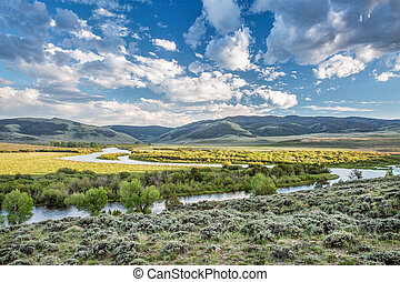 North Platte River above Northgate Canyon - meanders of...