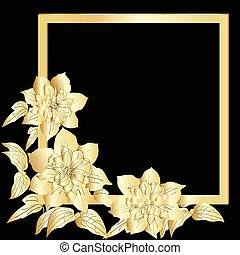 Gold terry clematis are on black background. Vector...