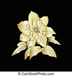 Terry flower clematis sketch. Gold outline on black...