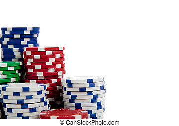 Stacks of poker chips on white with copy space - Stacks of...