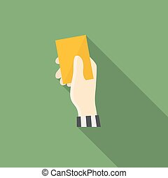Yellow card - Vector hand holding yellow card in...
