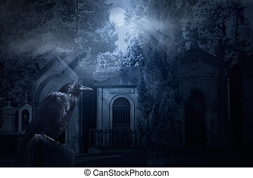 Spooky crow - Frightening image with a crow and an old dark...