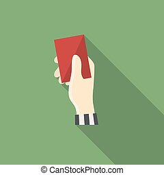 Red card - Vector hand holding Red card in soccer,football...