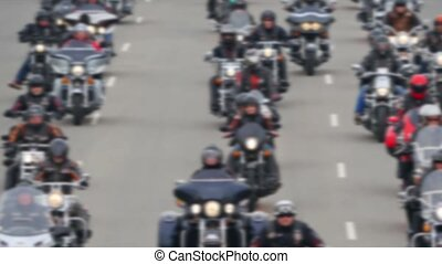 4K - Bikers on the road Defocused background