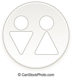 Male and female restroom symbol button Vector illustration