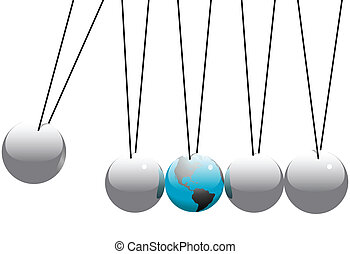 Earth Globe in Newtons Cradle Balls - Earth in danger in a...