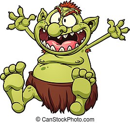 Fat troll - Fat cartoon troll. Vector clip art illustration...