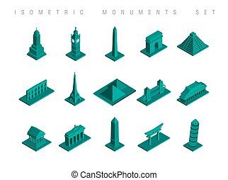 Isometric travel monuments set illustration - Set of flat...