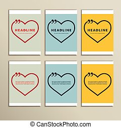 six beautiful hearts on a colorful background.