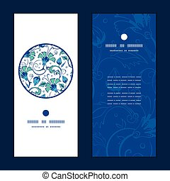 Vector blue green swirly flowers vertical round frame pattern invitation greeting cards set