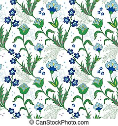 Vector turkish field flowers seamless pattern