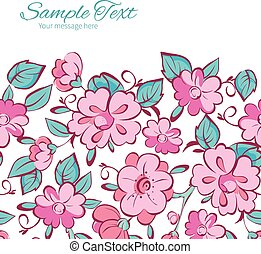 Vector Pink Blue Kimono Flowers Horizontal Frame Seamless Pattern Background