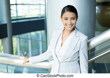 Professional modern suit woman - Closeup portrait, young...